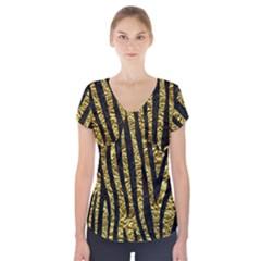 Skin4 Black Marble & Gold Foil Short Sleeve Front Detail Top