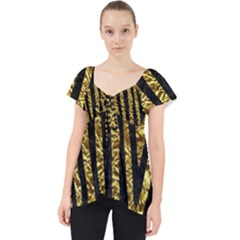 Skin4 Black Marble & Gold Foil Lace Front Dolly Top