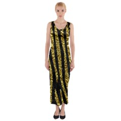 Skin4 Black Marble & Gold Foil (r) Fitted Maxi Dress