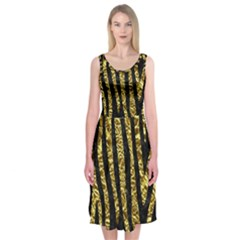 Skin4 Black Marble & Gold Foil (r) Midi Sleeveless Dress
