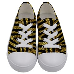 Skin4 Black Marble & Gold Foil (r) Kids  Low Top Canvas Sneakers