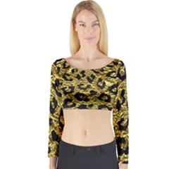 Skin5 Black Marble & Gold Foil Long Sleeve Crop Top