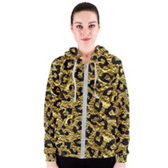 Skin5 Black Marble & Gold Foil Women s Zipper Hoodie