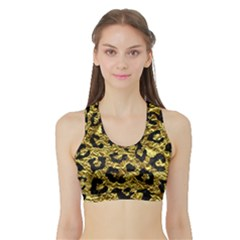 Skin5 Black Marble & Gold Foil Sports Bra With Border