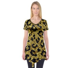 Skin5 Black Marble & Gold Foil Short Sleeve Tunic