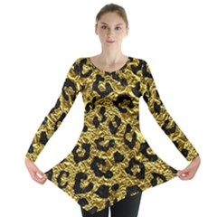 Skin5 Black Marble & Gold Foil Long Sleeve Tunic