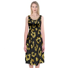 Skin5 Black Marble & Gold Foil (r)skin5 Black Marble & Gold Foil (r) Midi Sleeveless Dress