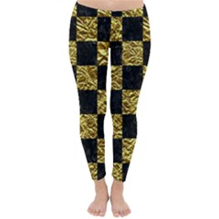 Square1 Black Marble & Gold Foil Classic Winter Leggings