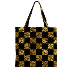 Square1 Black Marble & Gold Foil Zipper Grocery Tote Bag