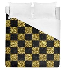 Square1 Black Marble & Gold Foil Duvet Cover (queen Size)