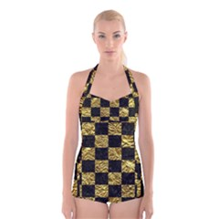Square1 Black Marble & Gold Foil Boyleg Halter Swimsuit