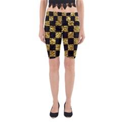 Square1 Black Marble & Gold Foil Yoga Cropped Leggings