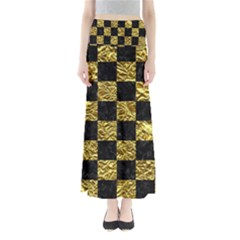 Square1 Black Marble & Gold Foil Full Length Maxi Skirt