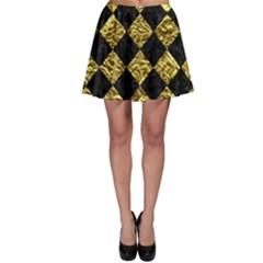 Square2 Black Marble & Gold Foil Skater Skirt