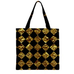 Square2 Black Marble & Gold Foil Zipper Grocery Tote Bag