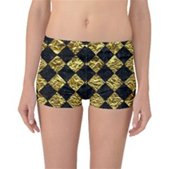 Square2 Black Marble & Gold Foil Boyleg Bikini Bottoms