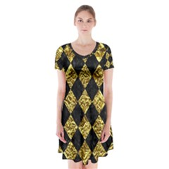Square2 Black Marble & Gold Foil Short Sleeve V Neck Flare Dress