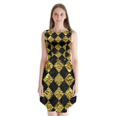 Square2 Black Marble & Gold Foil Sleeveless Chiffon Dress