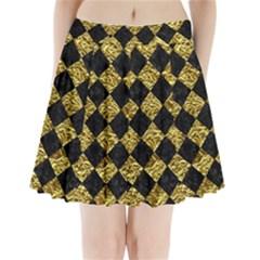 Square2 Black Marble & Gold Foil Pleated Mini Skirt