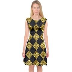 Square2 Black Marble & Gold Foil Capsleeve Midi Dress