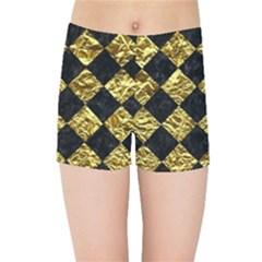 Square2 Black Marble & Gold Foil Kids Sports Shorts