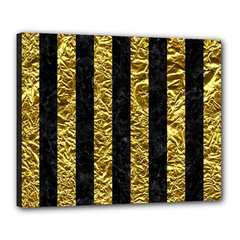 Stripes1 Black Marble & Gold Foil Canvas 20  X 16