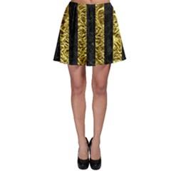 Stripes1 Black Marble & Gold Foil Skater Skirt