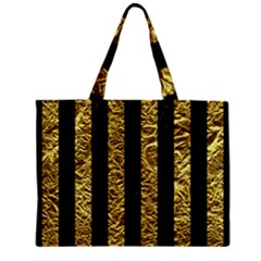 Stripes1 Black Marble & Gold Foil Zipper Mini Tote Bag