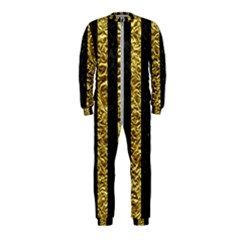 Stripes1 Black Marble & Gold Foil Onepiece Jumpsuit (kids)