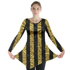Stripes1 Black Marble & Gold Foil Long Sleeve Tunic