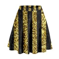 Stripes1 Black Marble & Gold Foil High Waist Skirt