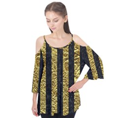 Stripes1 Black Marble & Gold Foil Flutter Tees