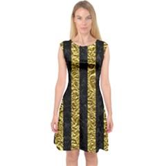 Stripes1 Black Marble & Gold Foil Capsleeve Midi Dress