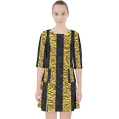 Stripes1 Black Marble & Gold Foil Pocket Dress