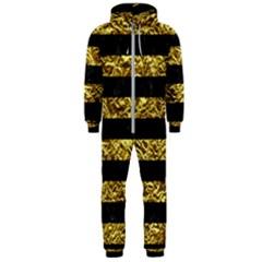 Stripes2 Black Marble & Gold Foil Hooded Jumpsuit (men)