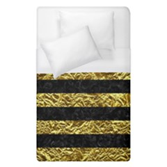 Stripes2 Black Marble & Gold Foil Duvet Cover (single Size)
