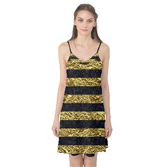 Stripes2 Black Marble & Gold Foil Camis Nightgown