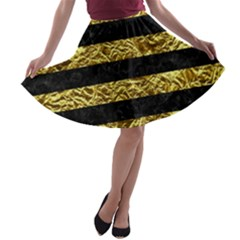 Stripes2 Black Marble & Gold Foil A Line Skater Skirt