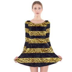 Stripes2 Black Marble & Gold Foil Long Sleeve Velvet Skater Dress