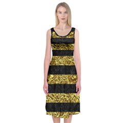 Stripes2 Black Marble & Gold Foil Midi Sleeveless Dress