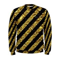 Stripes3 Black Marble & Gold Foil Men s Sweatshirt