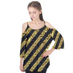 Stripes3 Black Marble & Gold Foil Flutter Tees