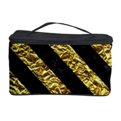 Stripes3 Black Marble & Gold Foil (r) Cosmetic Storage Case