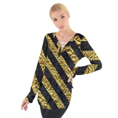 Stripes3 Black Marble & Gold Foil (r) Tie Up Tee