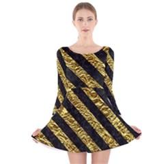 Stripes3 Black Marble & Gold Foil (r) Long Sleeve Velvet Skater Dress
