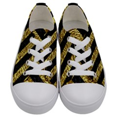 Stripes3 Black Marble & Gold Foil (r) Kids  Low Top Canvas Sneakers