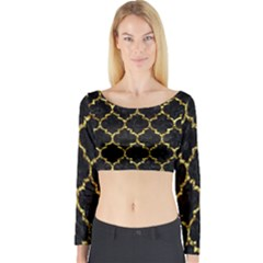Tile1 Black Marble & Gold Foil Long Sleeve Crop Top