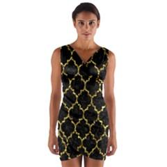 Tile1 Black Marble & Gold Foil Wrap Front Bodycon Dress