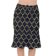 Tile1 Black Marble & Gold Foil Mermaid Skirt