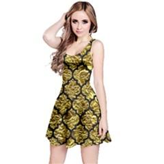 Tile1 Black Marble & Gold Foil (r) Reversible Sleeveless Dress